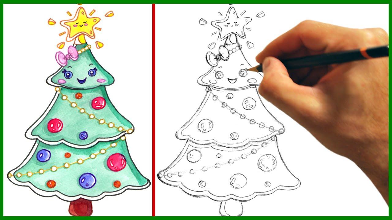 1280x720 cute christmas tree drawing draw a cute christmas tree