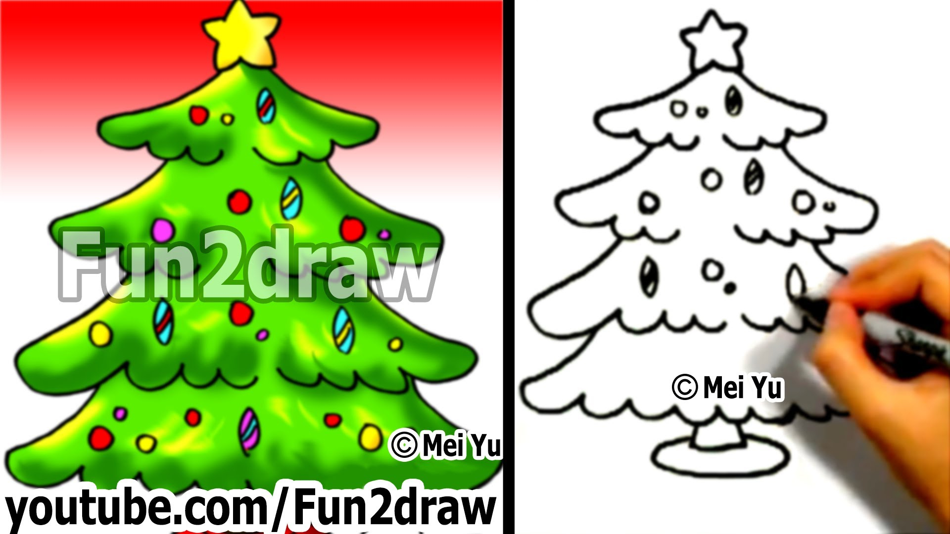 1920x1080 Cute Christmas Tree Drawing How To Draw A In 1 Min