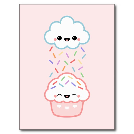 512x512 Super Cute Cloud Raining Rainbow Sprinkles On Happy Cupcake