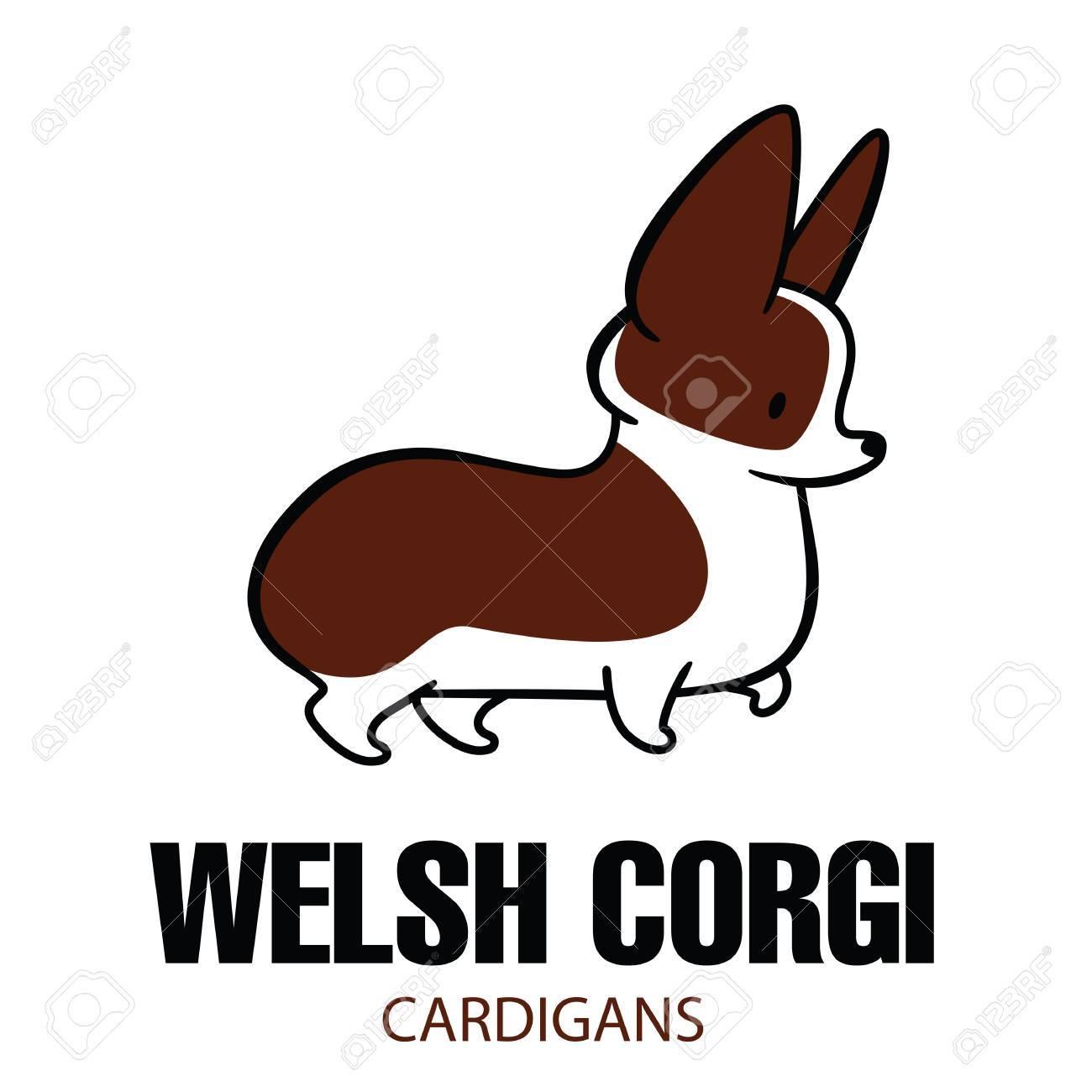 1300x1300 Cute Cartoon Vector Drawing Of Dog Head Of Welsh Corgi Breed