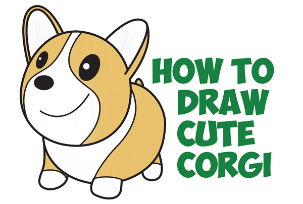 600x405 How To Draw A Cute Corgi (Cartoon Kawaii Chibi) Easy Step By