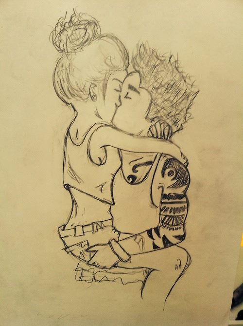 500x669 Cute Couple Drawing By Lausannesm
