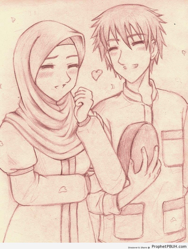 800x1059 New Pencil Drawings With Cute Muslim Couples