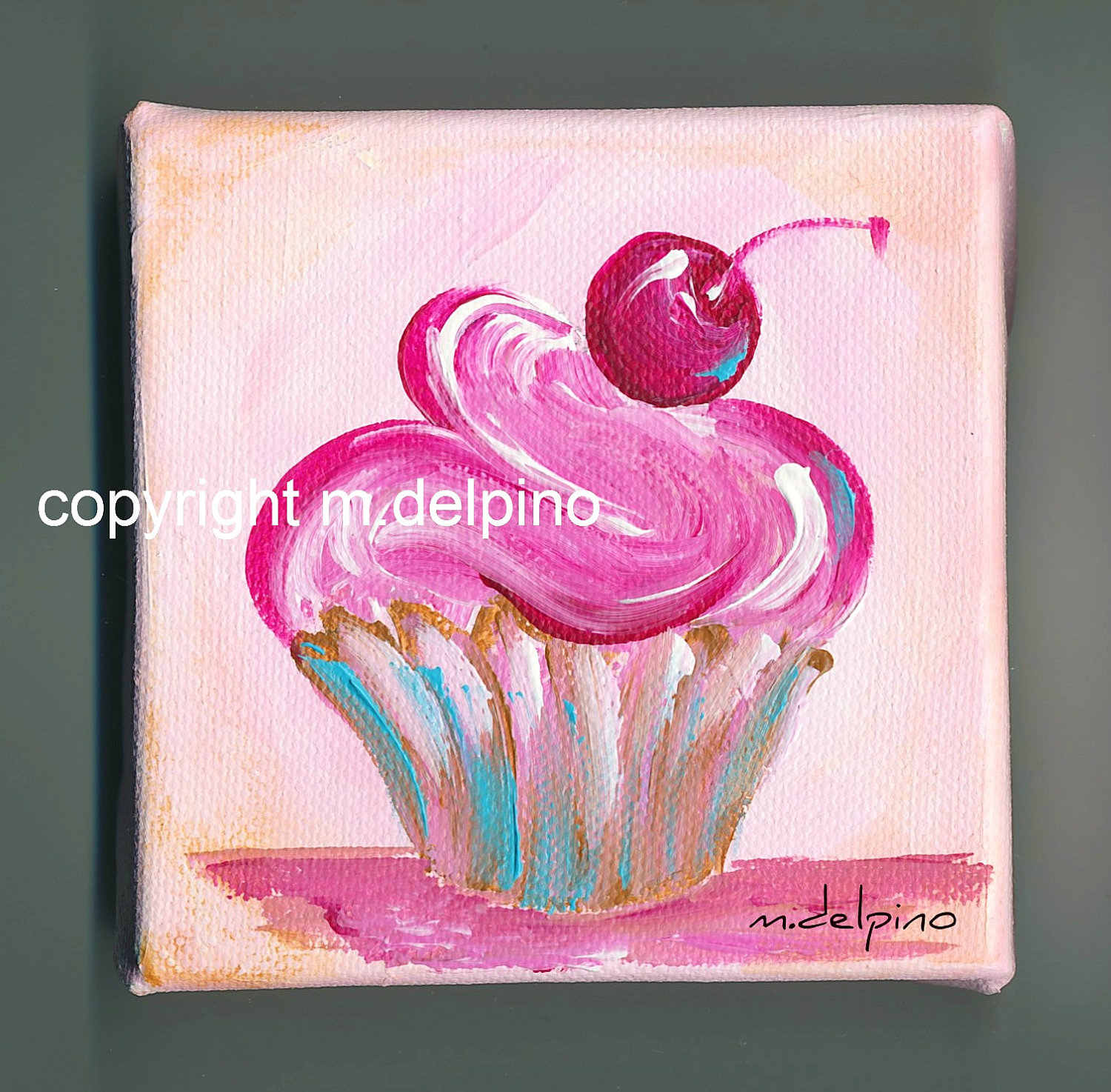 1500x1474 Pink cupcake oil painting 4 x 4 canvas cottage chic kitchen bakery