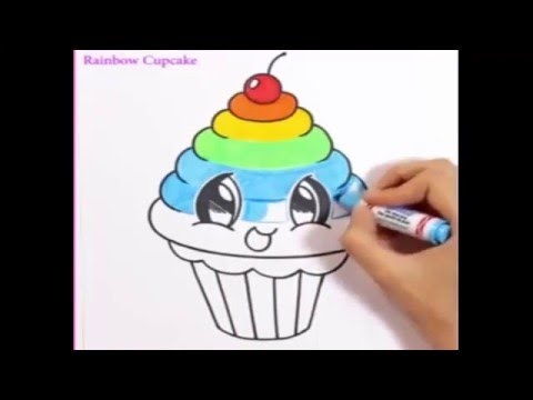 480x360 how to draw a rainbow cupcake CUTE + EASY
