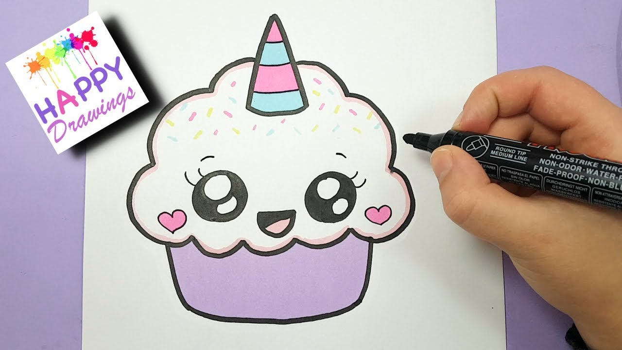 1280x720 HOW TO DRAW A CUTE CUPCAKE UNICORN