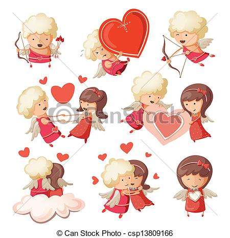 450x465 Set of cute boy and girl cupids. clip art vector