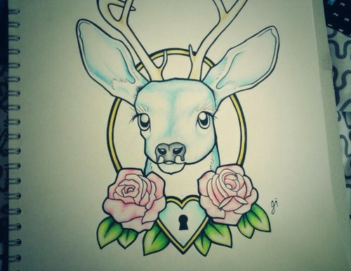 500x386 Deer Tattoo Design Discovered By Georgia On We Heart It