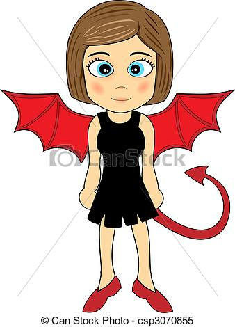 338x470 Cute devil girl. Illustration of a cute looking devil girl clipart