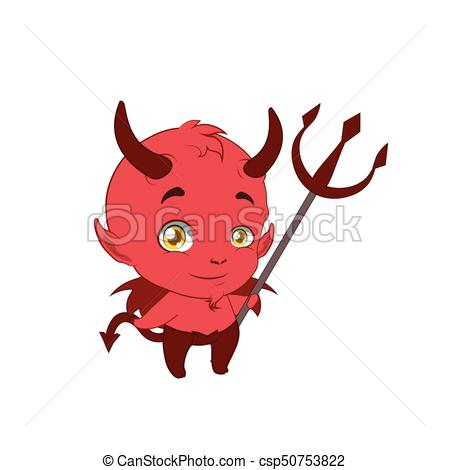 450x470 Little cute devil holding a pitchfork vector illustration