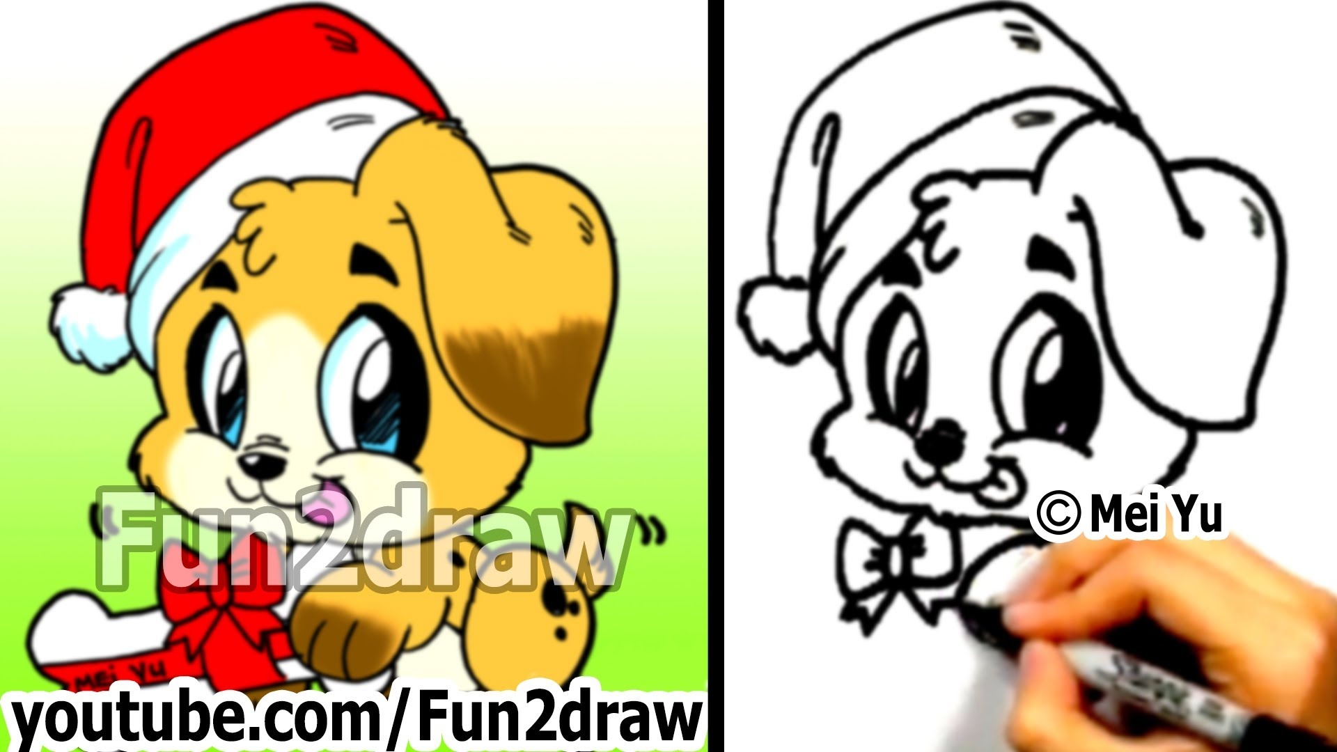 1920x1080 How To Draw Cute Santa Puppy Step By Step