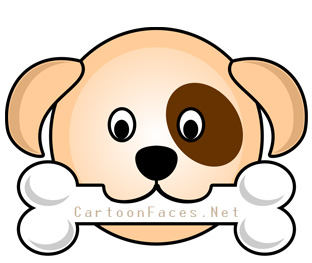 312x263 Cute Face Of Cartoon Puppy With A Bone Cartoon Faces