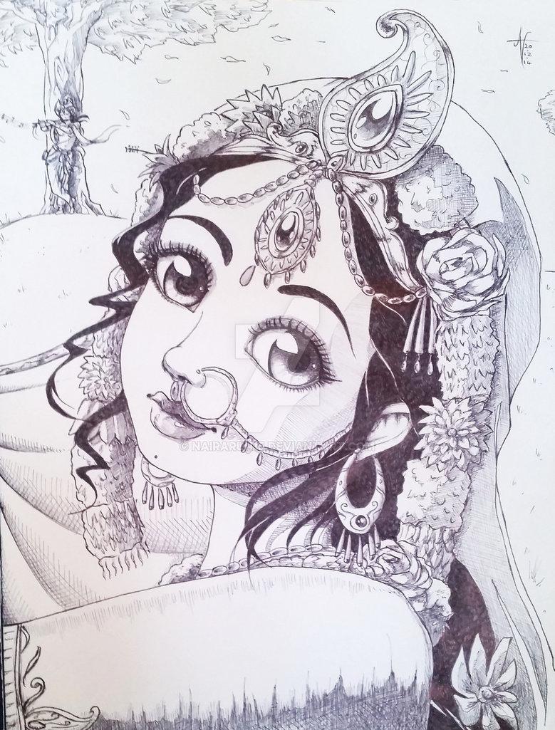 779x1025 Radha Krishna Cute Drawing Images Traditional Sketch Srimati
