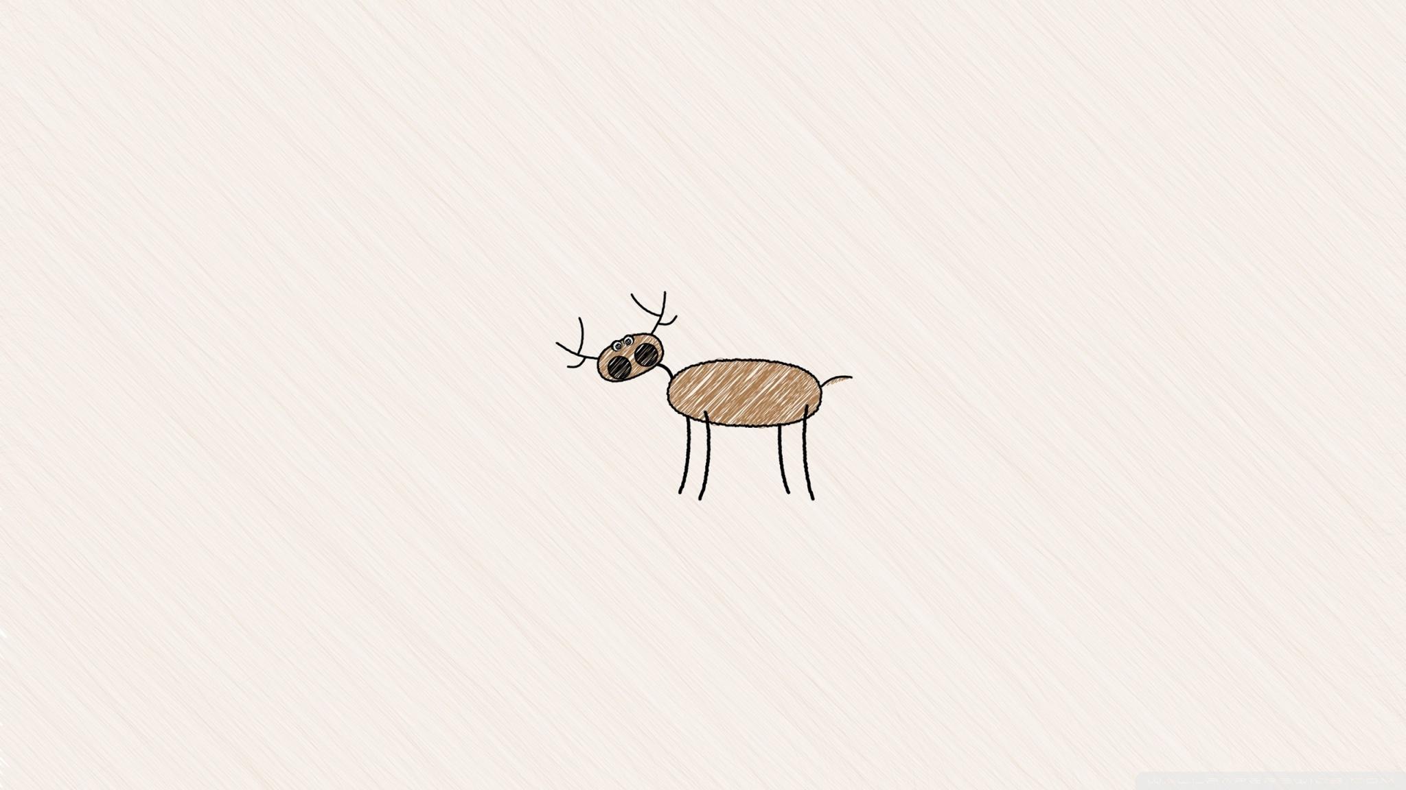 2048x1152 Funny Deer Drawing 4k Hd Desktop Wallpaper For 4k Ultra Hd Tv