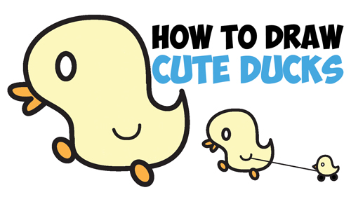 500x281 How To Draw Cute Kawaii Baby Ducks Cartoon Ducklings In Easy