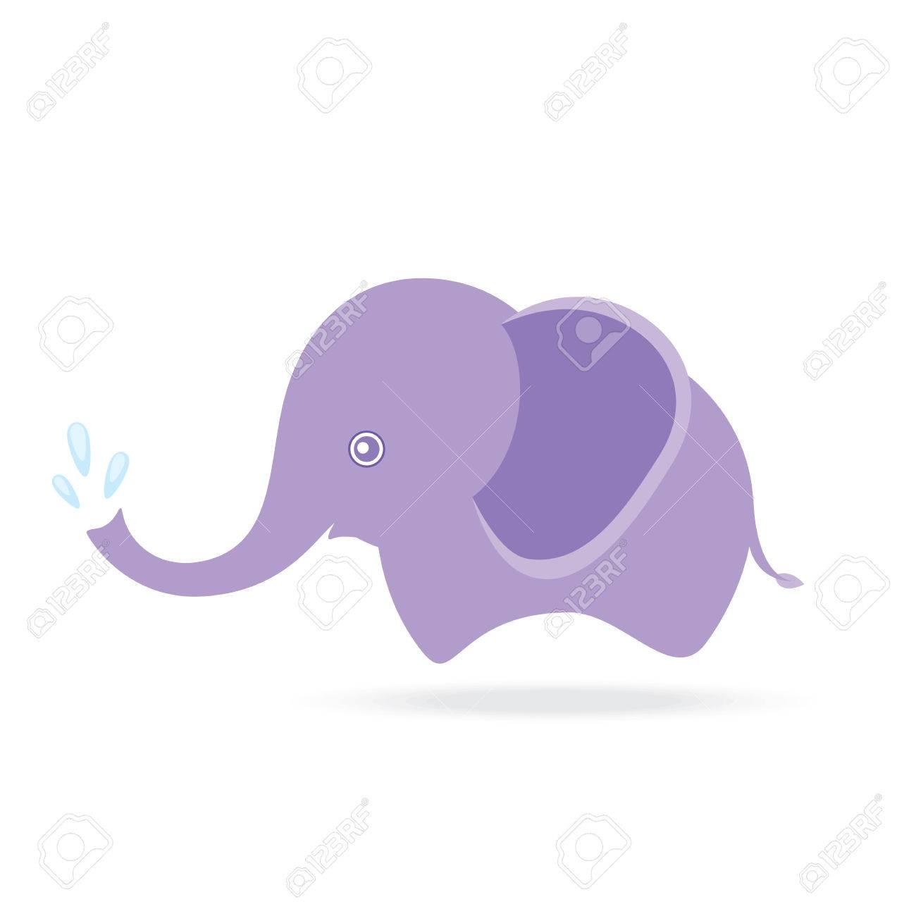 1300x1300 Cute Elephant Spraying Water, Cartoon Drawing Thailand Royalty
