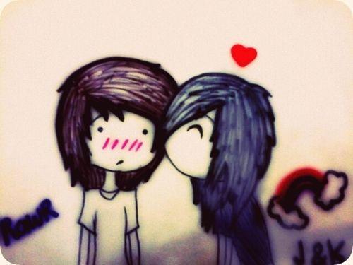 500x375 Emo Kiss Love Cute Kiss Emo Couple Relationship Illustrations