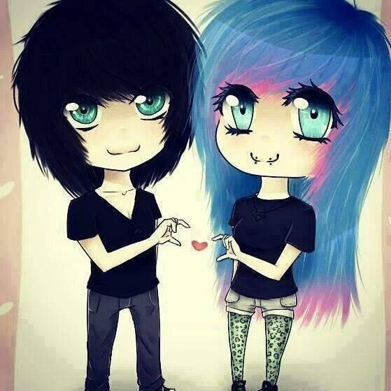 559x559 So Adorablelt3 Cute Emo Couple Drawing) I Lt3 Emo