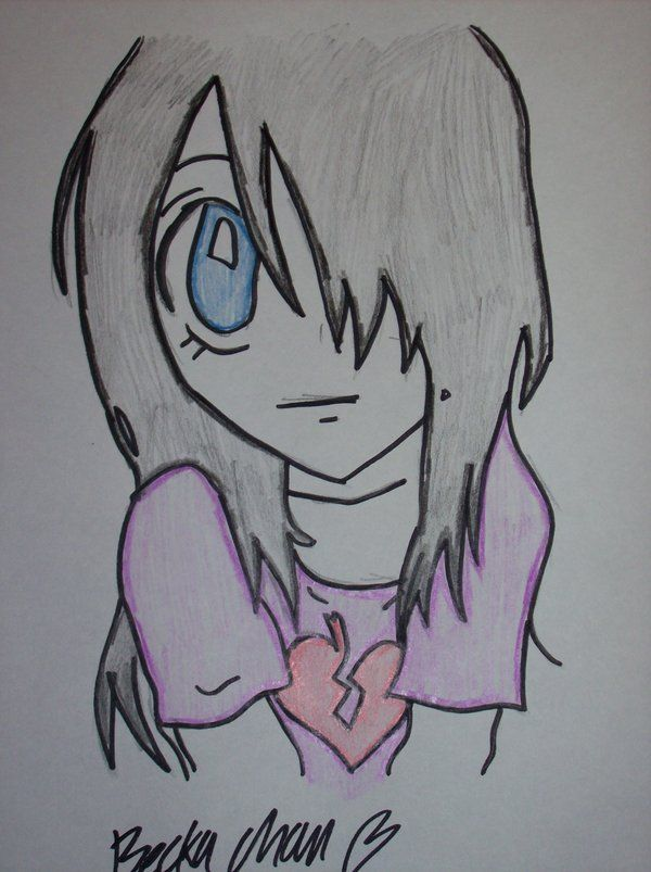 600x803 Emo Drawing How To Draw Cute Emo Girl Artsy