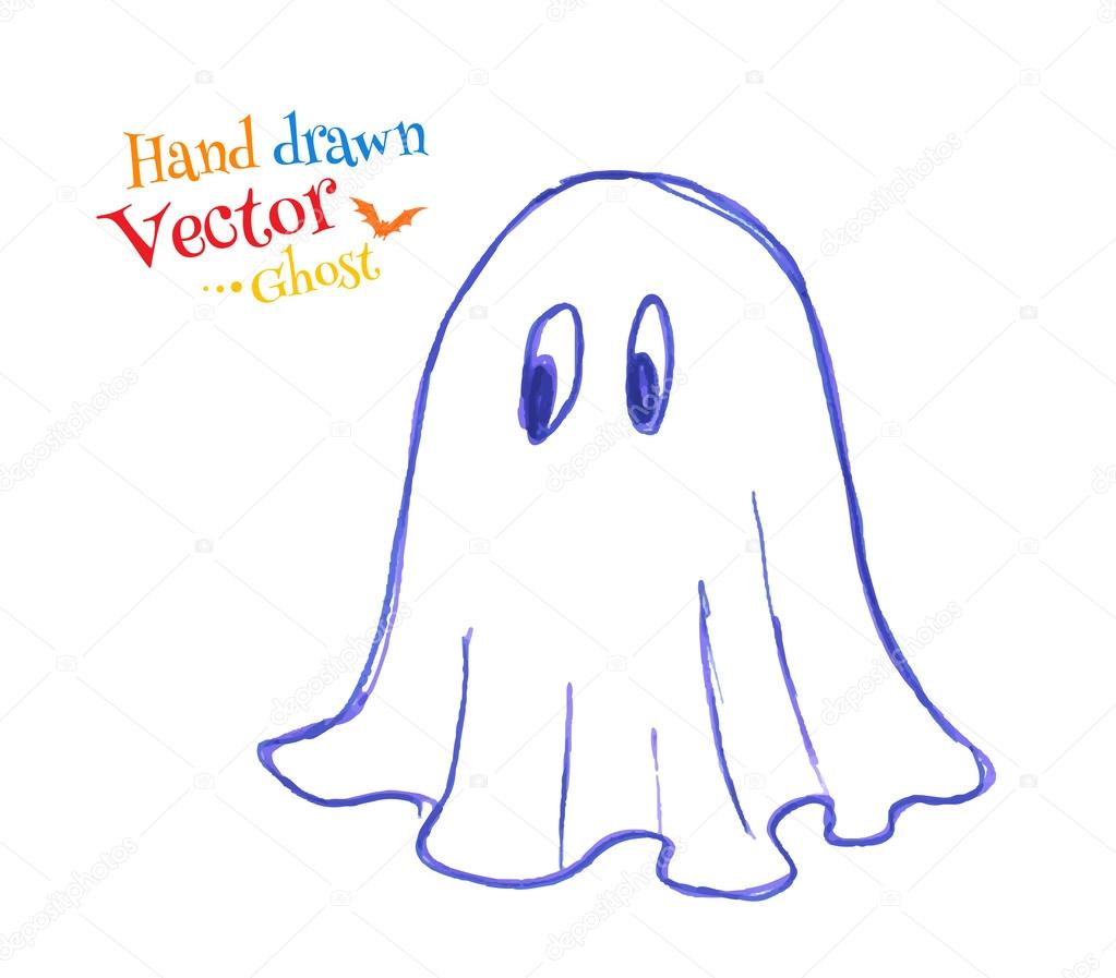 1023x897 Childlike Drawing Of Cute Ghost Stock Vector