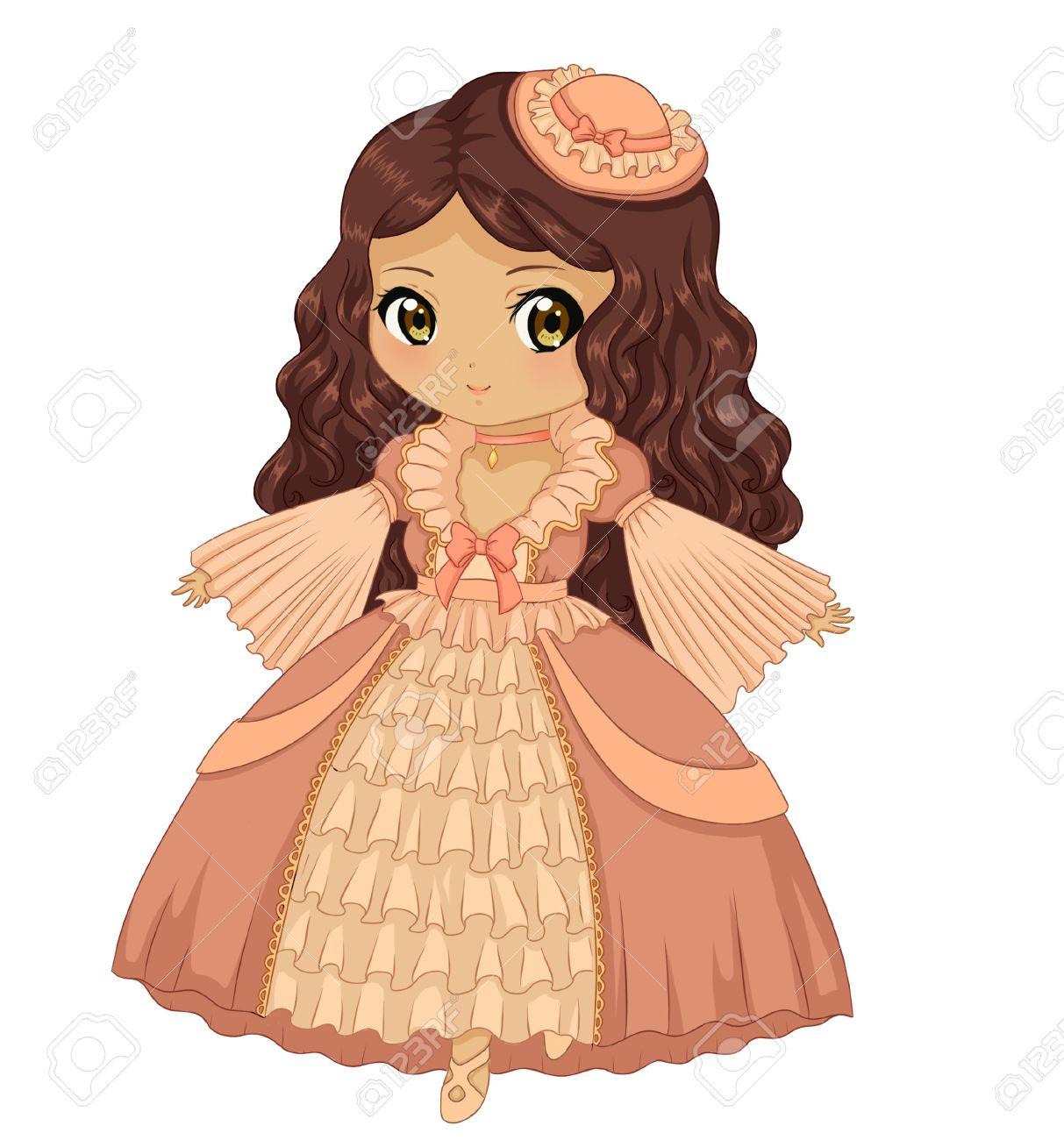 1213x1300 Beautiful Dress Cute Girl Drawing Stock Photo, Picture And Royalty
