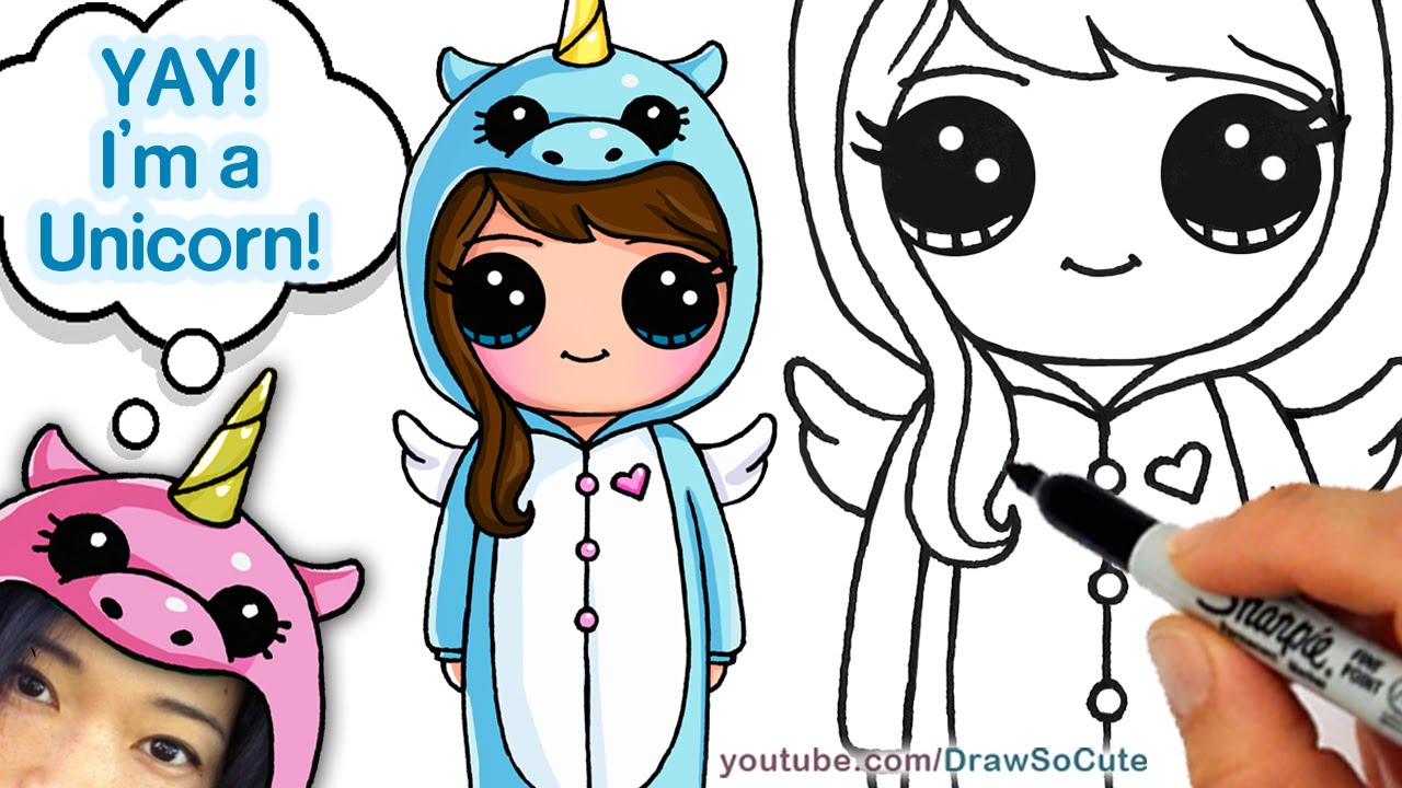 1280x720 How To Draw Cute Girl In Unicorn Onesie Easy