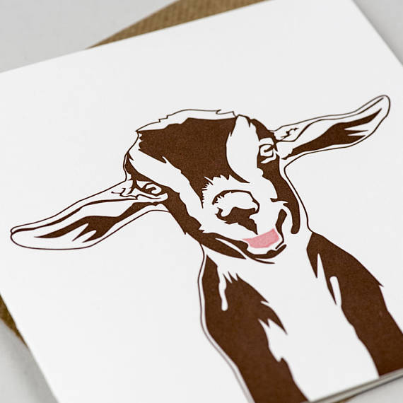 570x570 Goat Card Cute Card For Friend Birthday Card Thank You