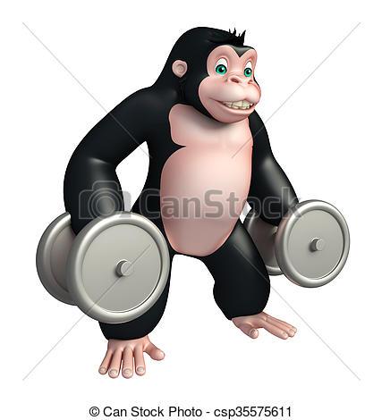 427x470 Cute Gorilla Cartoon Character With Gim Equipment. 3d Clipart