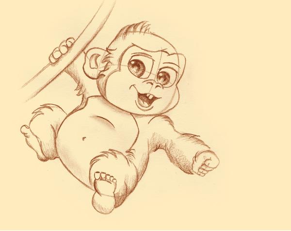 600x476 Cute Gorilla Drawing Animal Drawings Drawings