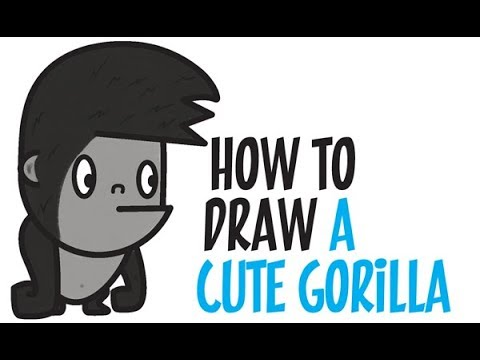 480x360 How To Draw A Gorilla For Kids Step By Step Easy (Cute Kawaii