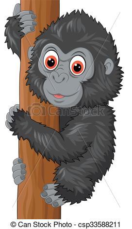272x470 Vector Illustration Of Cute Baby Gorilla Climbing Tree Vector Clip