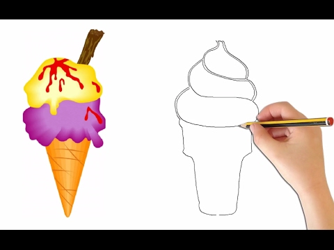 480x360 How To Draw Cute Ice Creams Cone And Easy For Kids Step By Step