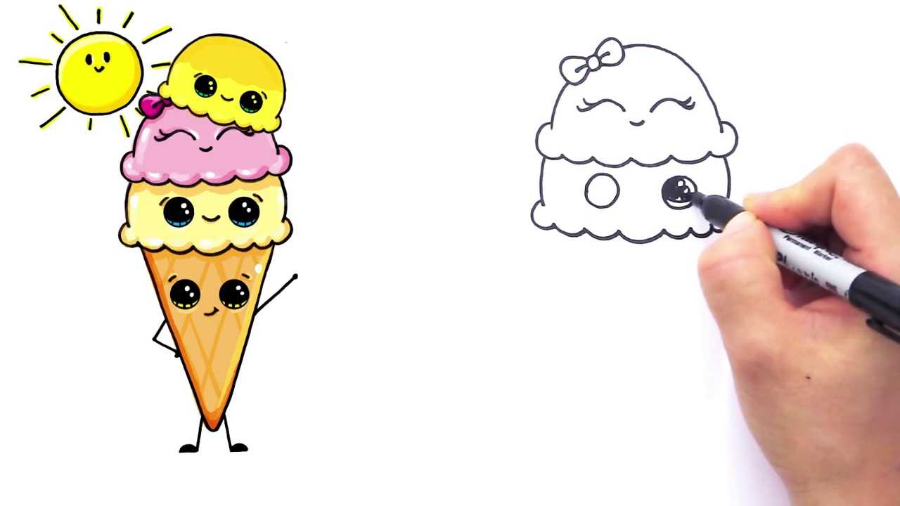 1280x720 How To Draw Cartoon Ice Cream On A Cone Cute And Easy