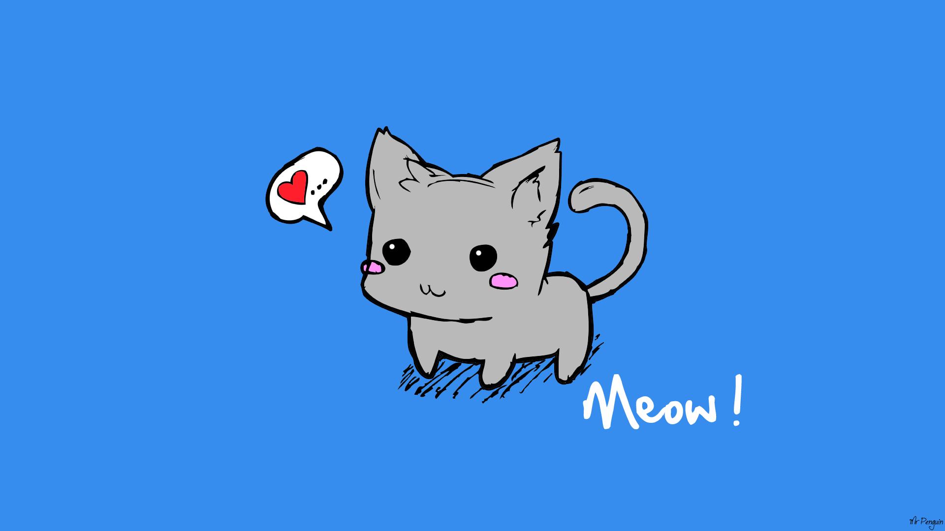 1920x1080 Cute Kitten Drawing Cute Kittenimmrpenguin On , Cute