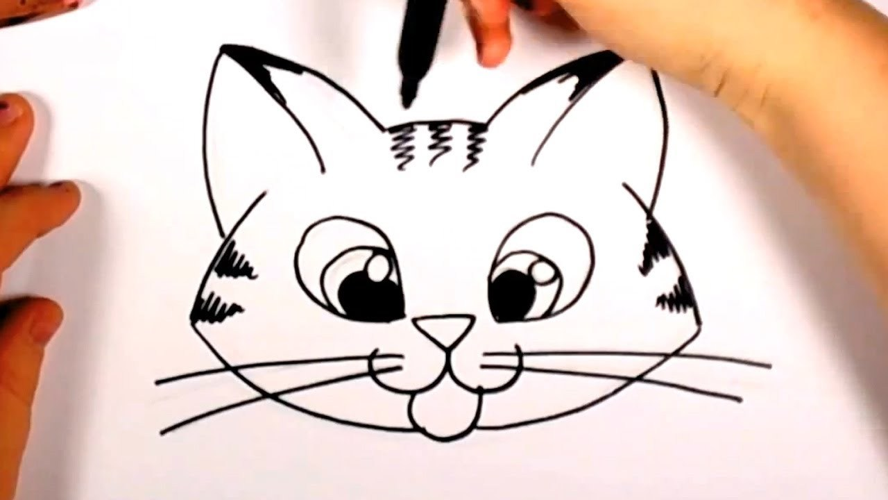 1280x720 How To Draw A Cute Kitten Face Tabby Cat Face Drawing Cc Cat