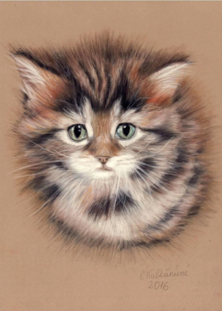770x1078 Saatchi Art Cute Kitten Drawing By Vanda Valkuniene