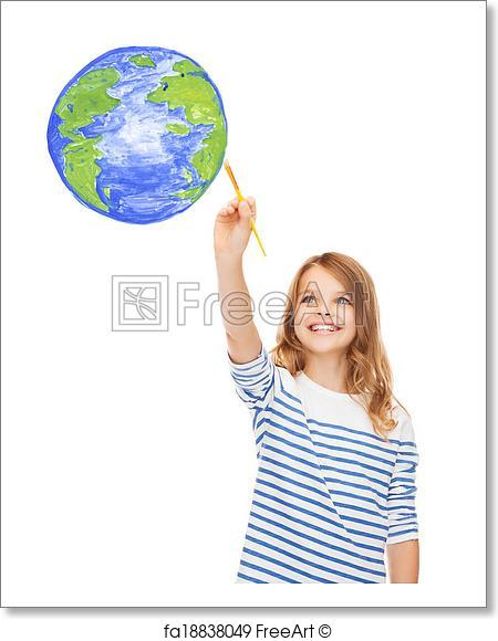 450x580 Free Art Print Of Cute Little Girl Drawing With Brush Planet Earth