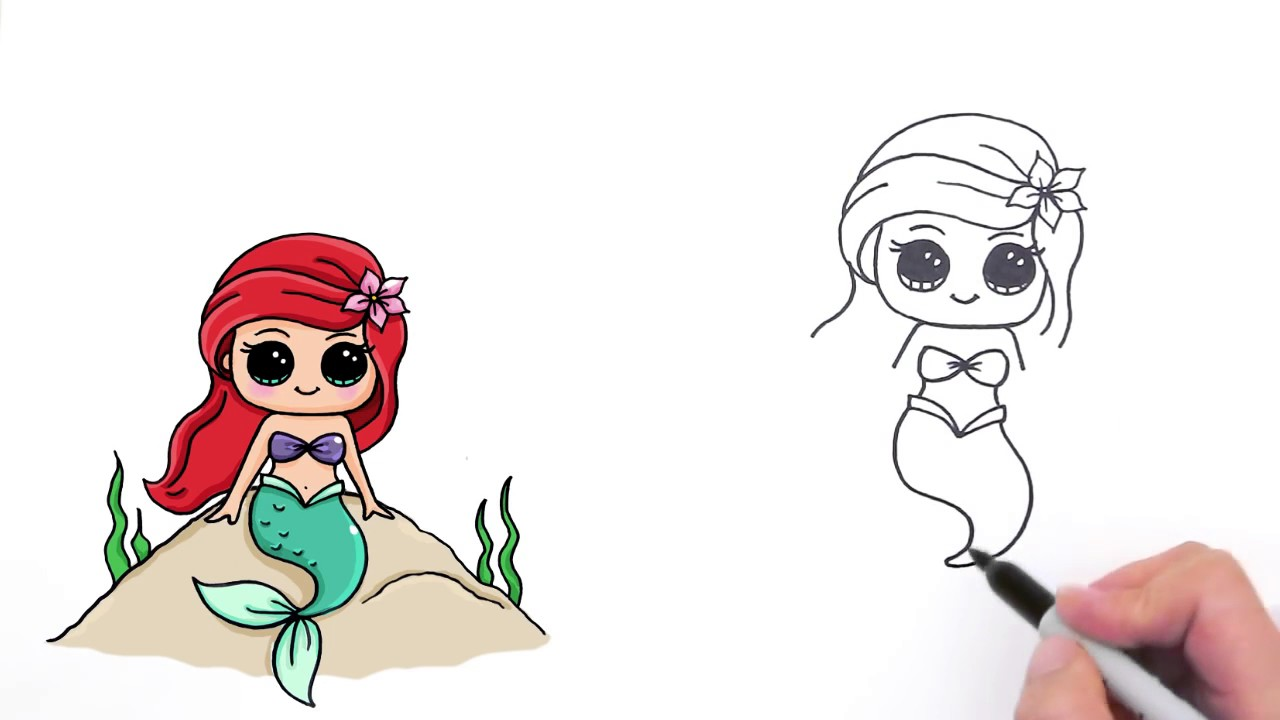 1280x720 How To Draw Mermaid Ariel Cute And Easy