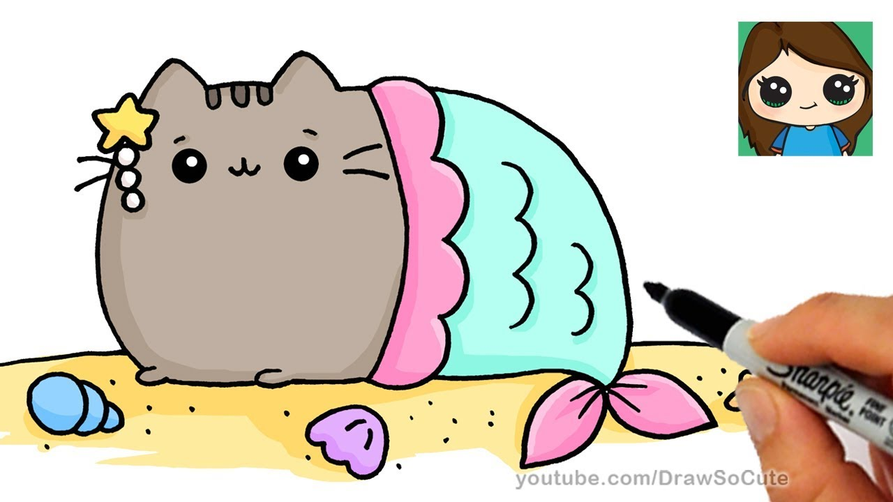 1280x720 How To Draw A Mermaid Pusheen Easy