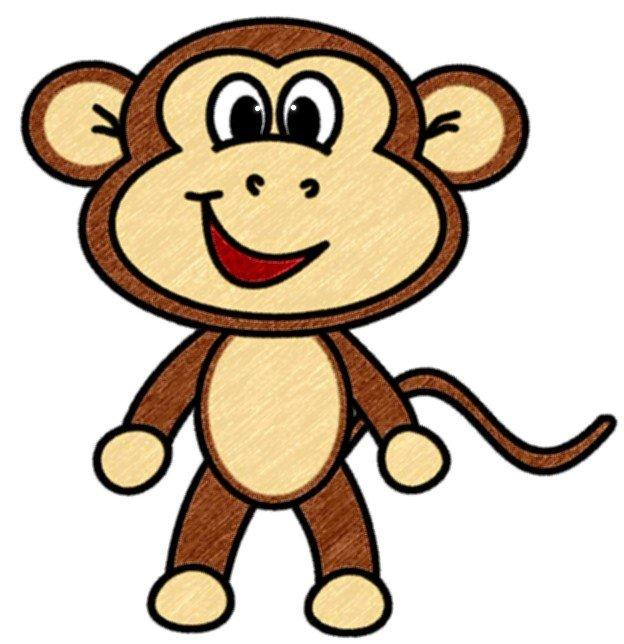 624x644 How To Draw Cartoons Monkey preschool activities Pinterest