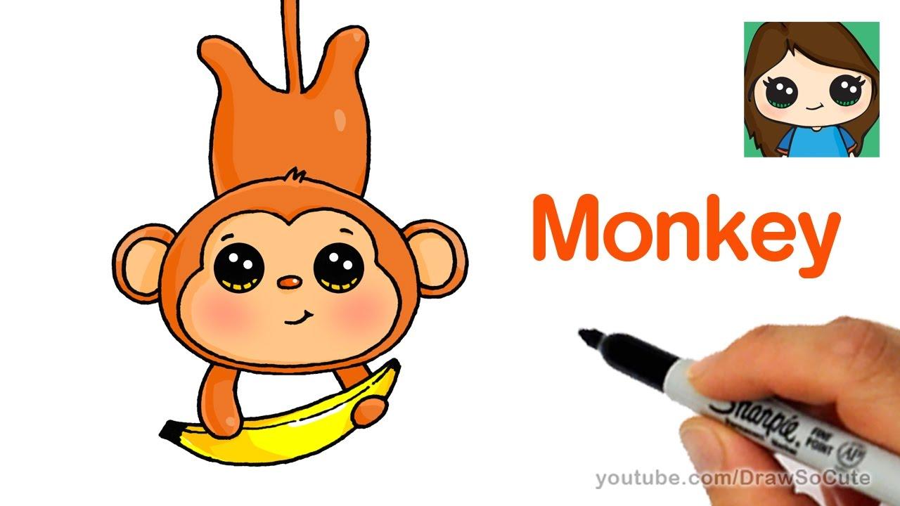 1280x720 How to Draw a Cartoon Monkey Easy