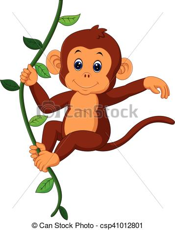 357x470 Illustration Of Cute Monkey Cartoon Vector Clipart