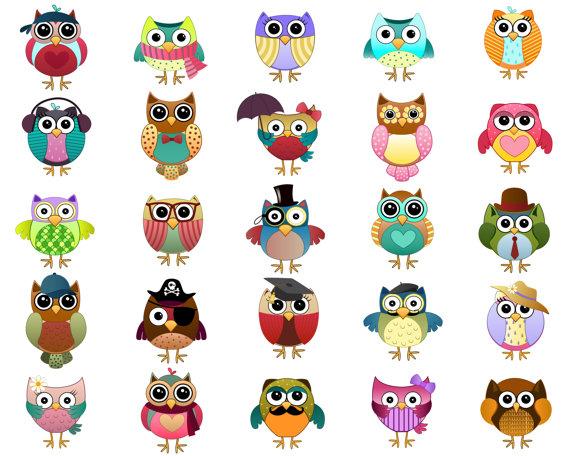 570x456 Cute Owl Characters Clip Art Set Of 25 Hand Drawn 300 Dpi