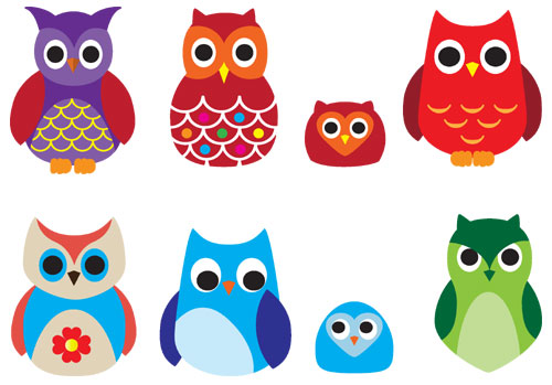 500x349 Cute Owl Drawings Set Of Free Cute Owls In Different Colours