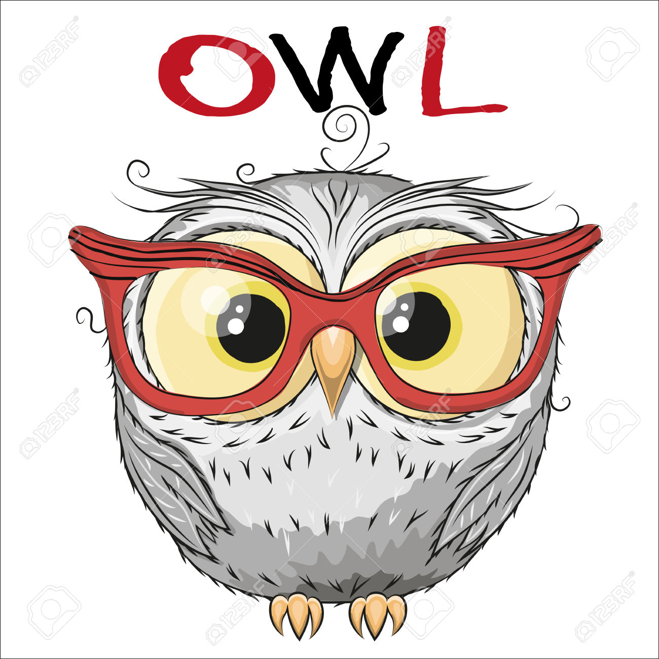 1300x1300 Owl Drawing Cartoon Cute Owl Isolated On A White Background