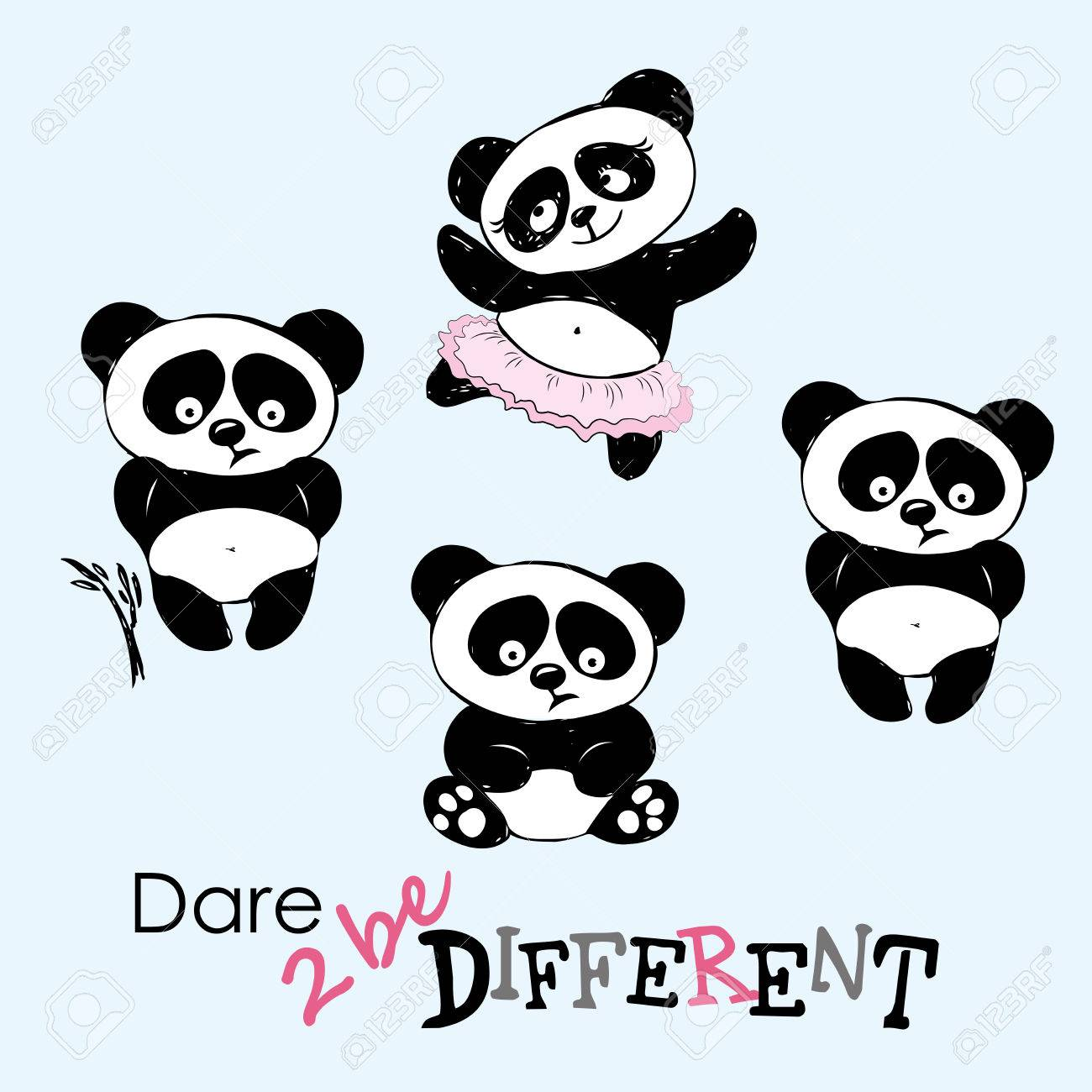 1300x1300 Be Different, Cute Panda In Various Poses, Hand Drawing, Vector
