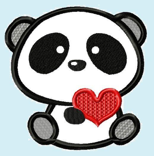 519x528 Cute Love Panda Bear With Heart Applique Embroidery Design.