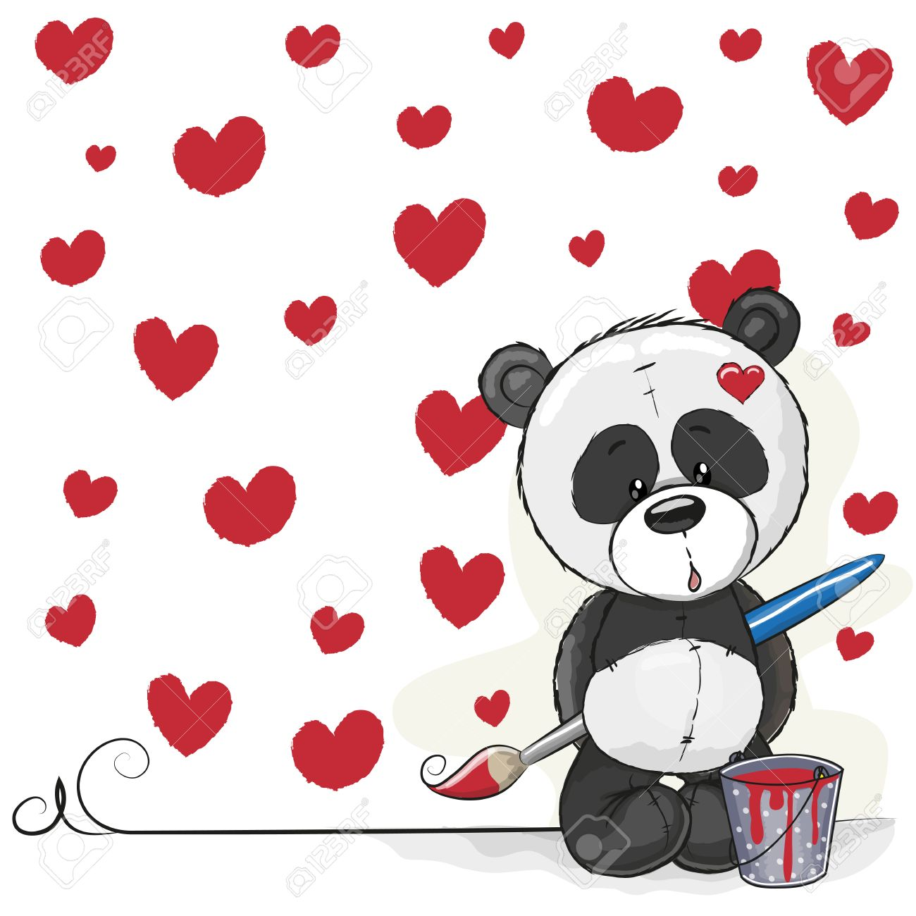 1300x1300 Cute Panda With Brush Is Drawing Hearts Royalty Free Cliparts