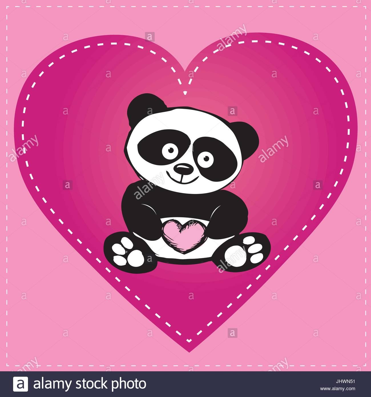 1300x1390 Little Cute Panda In Heart, Hand Drawing Stock Vector Art
