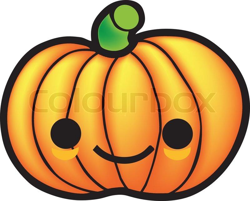 800x644 Cute Drawing Of A Kawaii Pumpkin, Halloween Related. Stock